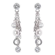 pretty earrings valdo zeni 08561 white and disc stud drop earrings