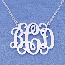3 initial monogram necklace sterling silver sterling silver 3 initials monogram necklace 1 1 4 inch sm