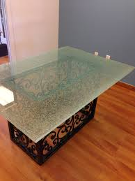 crackle glass table top crackled 48 round dining table top zuri
