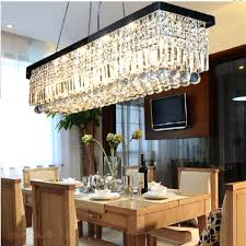rectangular crystal chandelier dining room with impressive modern