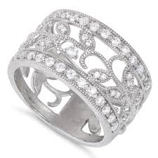 sterling silver ornaments leaves cz ring