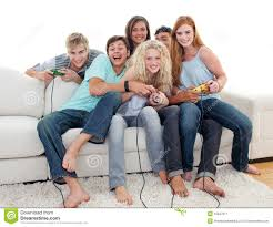 teenagers playing video games at home stock image image 12047971