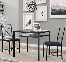 kitchen 3 piece dining set metal glass table chair seats breakfast