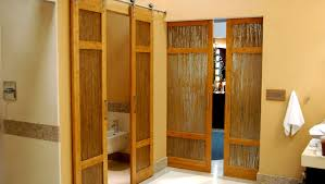 luxury bathroom bamboo barn doors with thatch resin by trustile