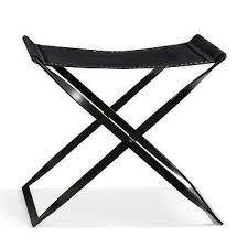 black leather folding x stool