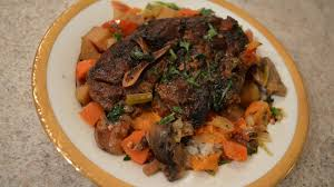 slow cooked napa valley lamb shoulder stew in a crock pot wine