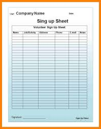 Volunteer Sign Up Sheet Template Free Mailing List Sign Up Sheet Template