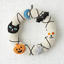 spooky halloween lettering not so scary halloween wreath the land of nod