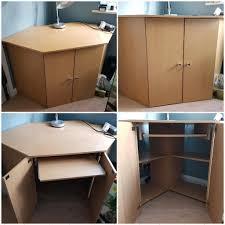 Laptop Storage Cabinet Oak Effect Desk Cabinet Storage Cupboard With Slide Out