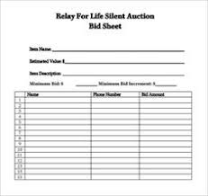 Bid Sheets For Silent Auction Template Silent Auction Bid Sheet Template Church Silent