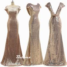 sequin rose gold mermaid bridesmaid gown prom dress low back