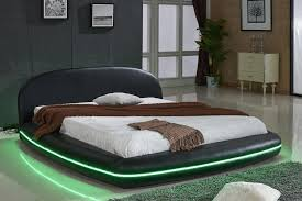 platform bed with led lights marquee black leather platform bed