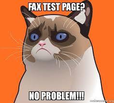 Fax Meme - fax test page no problem cartoon grumpy cat make a meme