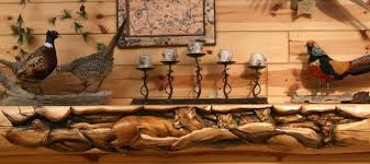 great wood carvings cabin decor carved fireplace mantels juniper log decorative