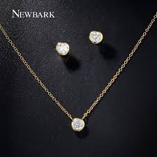 simple diamond sets newbark women jewelry set gold color with cubic zircon