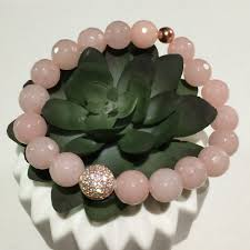 rose quartz gold bracelet images Rose gold quartz bracelet micro pave birthstone bracelet jpg
