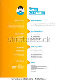 creative curriculum vitae template orange stripe stock vector