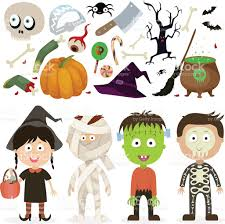 halloween kids cartoons halloween kids witch zombie mummy skeleton vector graphics stock