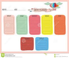 cute weekly planner stock vector image 70447819