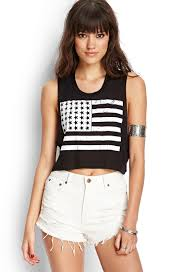 Black American Flag Tank Top American Flag Crop Top Forever21 Summerforever Fashion
