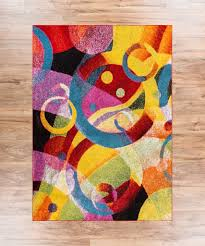 Bright Blue Rug Bubble Bright Multi Circles Yellow Blue Red Abstract Geometric