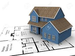 build house 3720226 new build house on a set of building plans stock photo