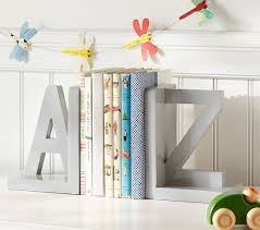 personalized bookends baby gray a z bookend pottery barn kids