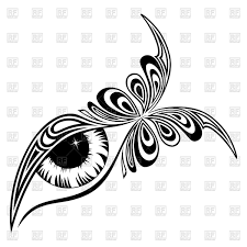 human eye with butterfly style royalty free vector clip