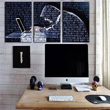 cora ordinateur de bureau 3 panneaux toile peinture décor ordinateur bureau fond décoratif