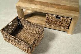 coffee table with baskets under side table with wicker baskets under coffee table storage baskets