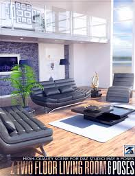 z two floor living room and poses 3d models and 3d software by