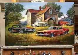 original backyard mustangs classic car scenes artist dale klee