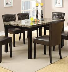 amazon com faux marble top dining table by poundex tables