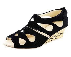 kanchan women u0027s black wedges sandal buy online at low prices in