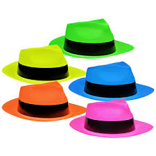 party hats bulk neon plastic fedora shaped party hats at dollartree