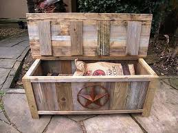 pallet outdoor bench with storage box 99 pallets for wood patio