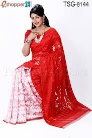 bangladeshi jamdani saree collection tangail moslin silk jamdani saree tsg 8144 online shopping in
