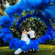 Car Interior Smoke Bomb Wedding Photo Royal Blue Smoke Bomb Colorsmoke Wedding