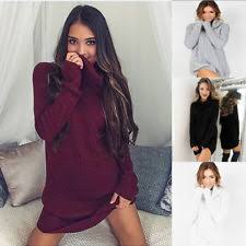 polo neck roll neck long sleeve jumper dresses for women ebay