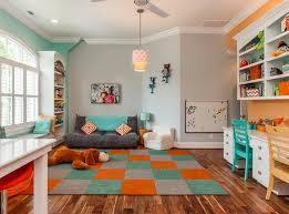 Kids Room Like The Grey Orange And Teal Combo In This Room Maybe A Good