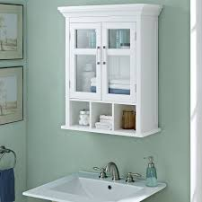 White Bathroom Cabinet With Glass Doors Simpli Home Avington Two Door Bathroom Wall Cabinet With Cubbies