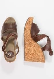 fly london heva wedge sandals tan women shoes platform brown