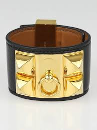 hermes bracelet leather images Hermes black box leather gold plated collier de chien cuff jpg