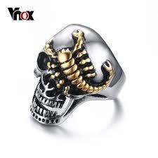 gothic rings men images Vnox men 39 s skull bone gothic rings gold color scorpions vintage jpg
