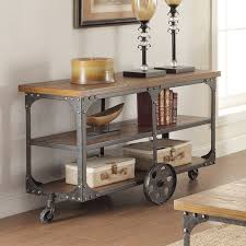 Rustic Tv Console Table Wildon Home Wheeled Console Table Industrial Rustic Farmhouse