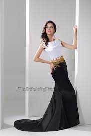 celebrity inspired white and black formal dress evening gown