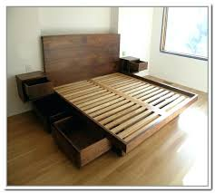 platform bed with nightstand attached wooden king furniture
