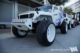 white and teal jeep 2017 sema champion 4x4 white jeep jk wrangler unlimited