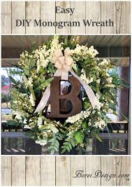 easy diy home decor hanging monogram wreath tutorial