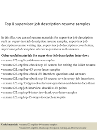 Job Description Resume Samples by Top 8 Supervisor Job Description Resume Samples 1 638 Jpg Cb U003d1430099985